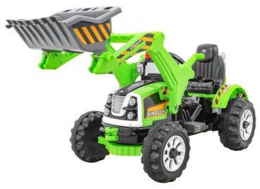 Elektricke auticko Traktor s lyzicou – zelene, hracky pre deti, nase hrackarstvo
