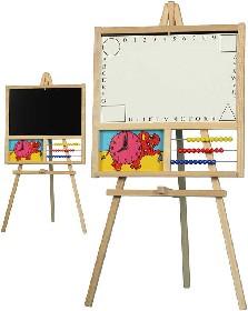 Detská školská drevená tabuľa 2v1, na fixky, magnetická, s počítadlom, hodinami
