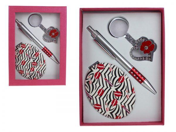 Darčeková súprava, pero + Zrkadielko + kľúčena v krabičke 17x12 cm